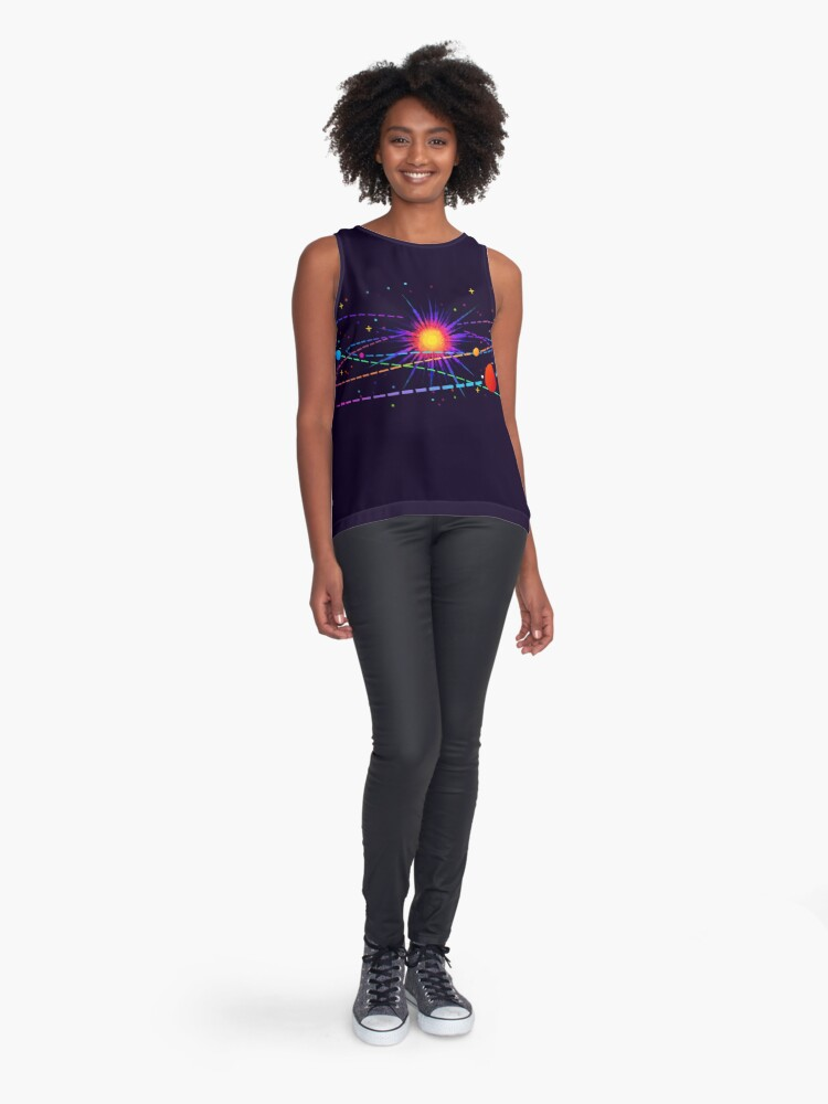 "Alternate view of ""You're Already Part of Something Ridiculous and Wonderful"" Solar System Sleeveless Top"