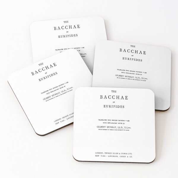 HIGH RESOLUTION The Bacchae of Euripides Title Page Coasters (Set of 4)