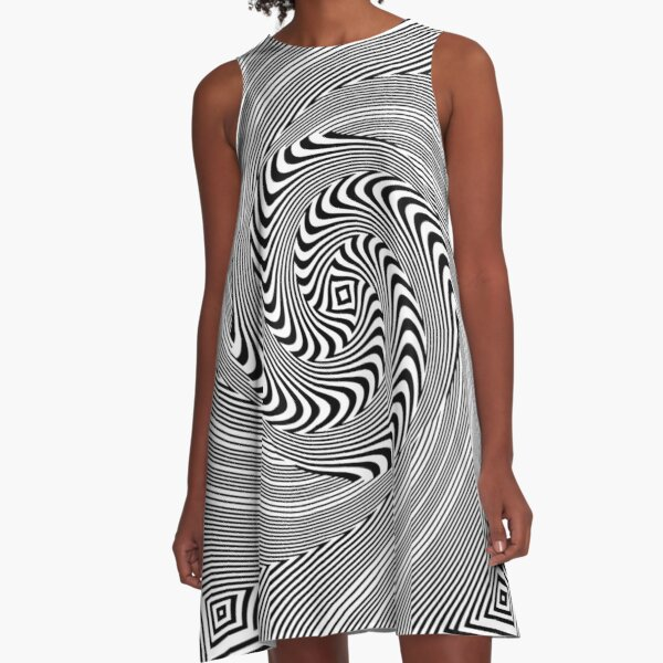 #Pattern, #vortex, #design, #abstract, geometry, creativity, illustration, hypnosis, spiral, intricacy, illusion A-Line Dress