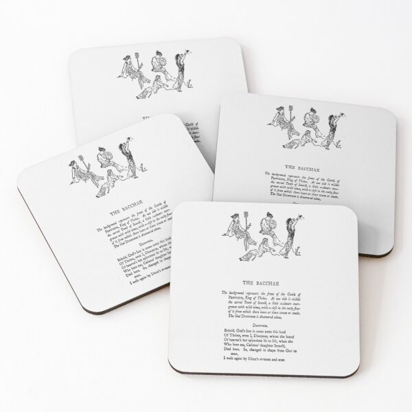 HIGH RESOLUTION The Bacchae Euripides First Page Coasters (Set of 4)