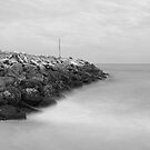 Highcliffe Beach in Dorset in Black and White by Ian Middleton