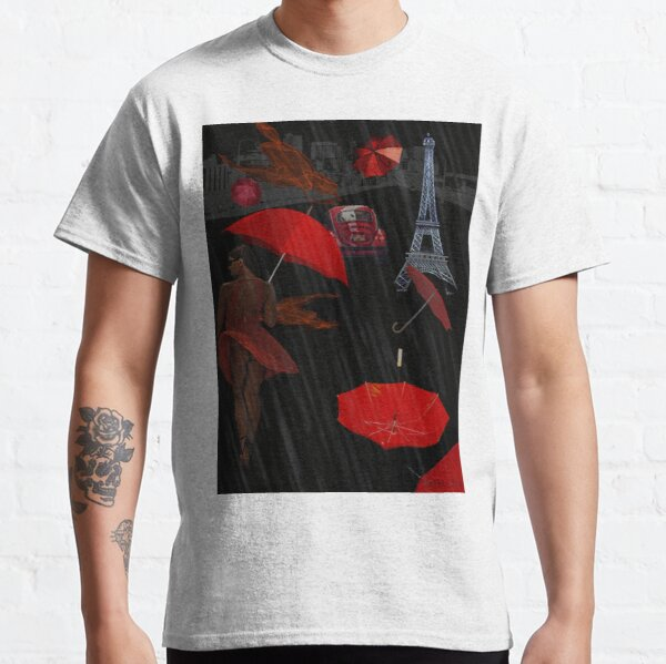Red Umbrella Day in Paris or just another rainy day or Woman in Red Digital Collage Classic T-Shirt