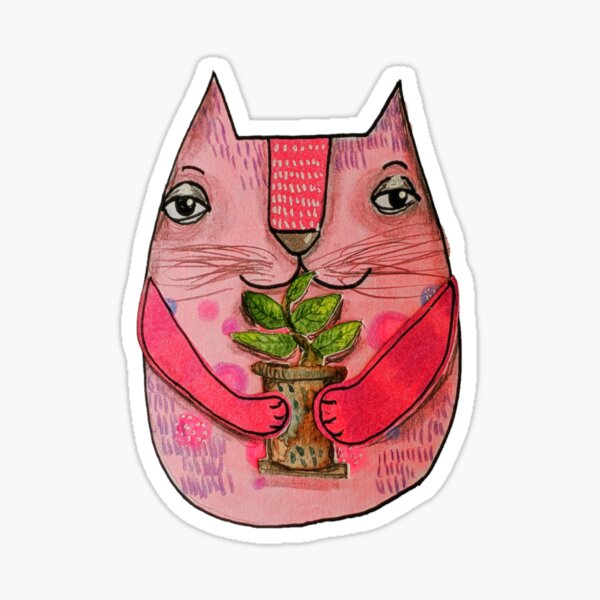 Pink cat with plant Sticker