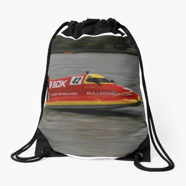 Powerboat Racing at Oulton Broad - Formula 4 - Mike Pillow Drawstring Bag