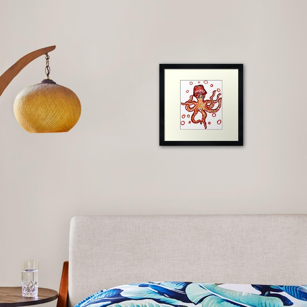 orange Octopus Framed Art Print