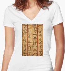 Egypt hieroglyphs, grunge seamless pattern Women's Fitted V-Neck T-Shirt