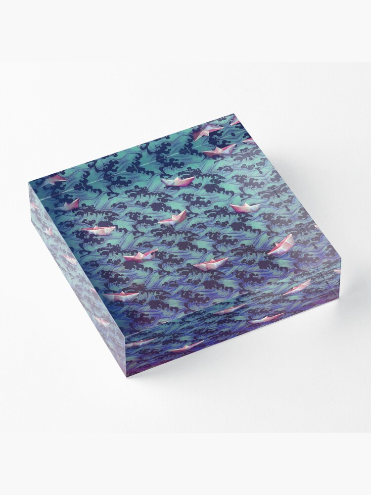 Alternate view of Japanese waves and paper boats Acrylic Block