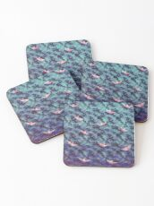 Japanese waves and paper boats Coasters