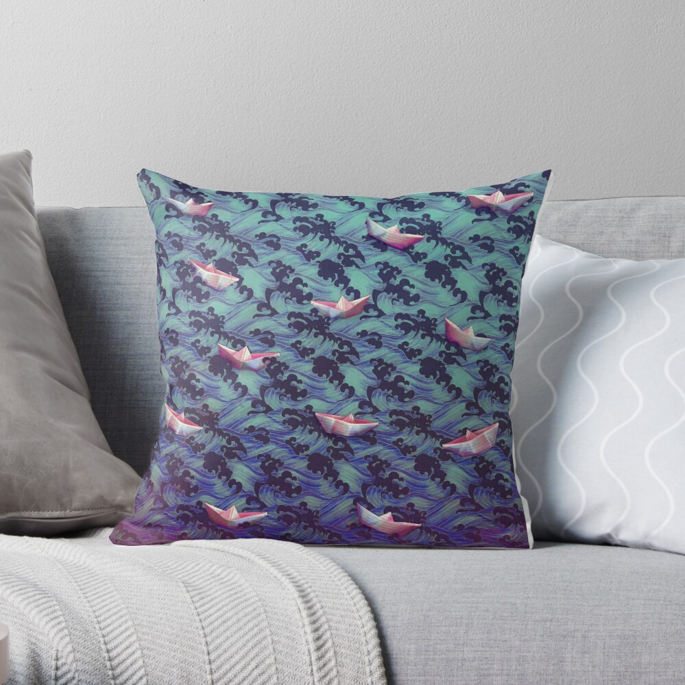Japanese waves and paper boats Throw Pillow