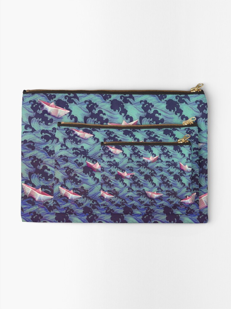 Alternate view of Japanese waves and paper boats Zipper Pouch
