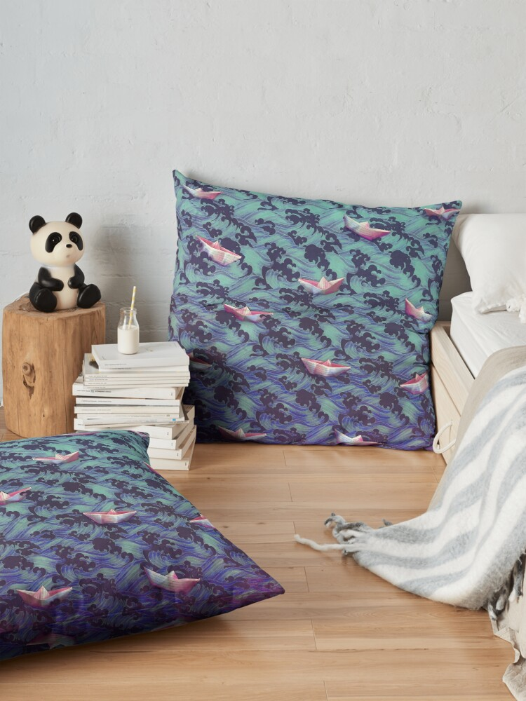 Alternate view of Japanese waves and paper boats Floor Pillow