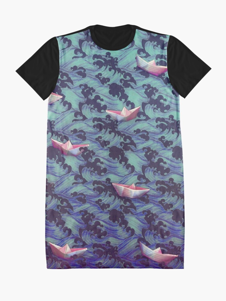 Alternate view of Japanese waves and paper boats Graphic T-Shirt Dress