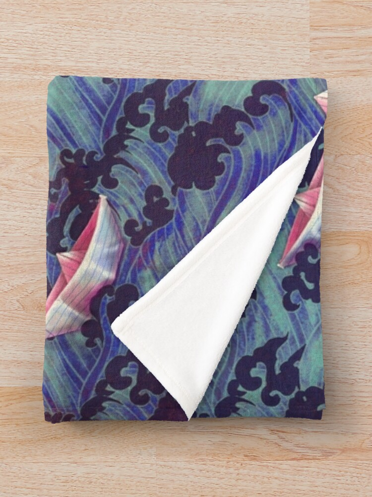 Alternate view of Japanese waves and paper boats Throw Blanket