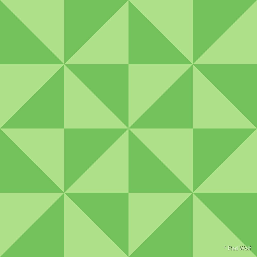 Geometric Pattern: Square Triangle: Light Green by * Red Wolf