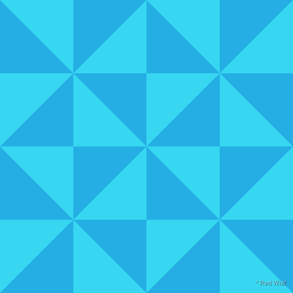 Geometric Pattern: Square Triangle: Light Blue by * Red Wolf