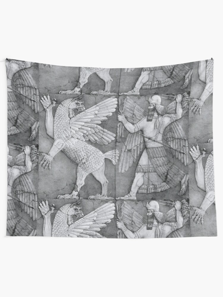 Chaos Monster and Sun God, Sumerian religion, palace relief, Nineveh  |  Wall Tapestry
