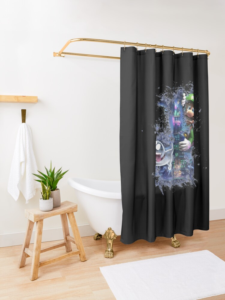 Alternate view of Luigi's Mansion 3 Design - Colored Shower Curtain