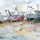 Fishing Boats at Hastings' Beach by Barbara Pommerenke