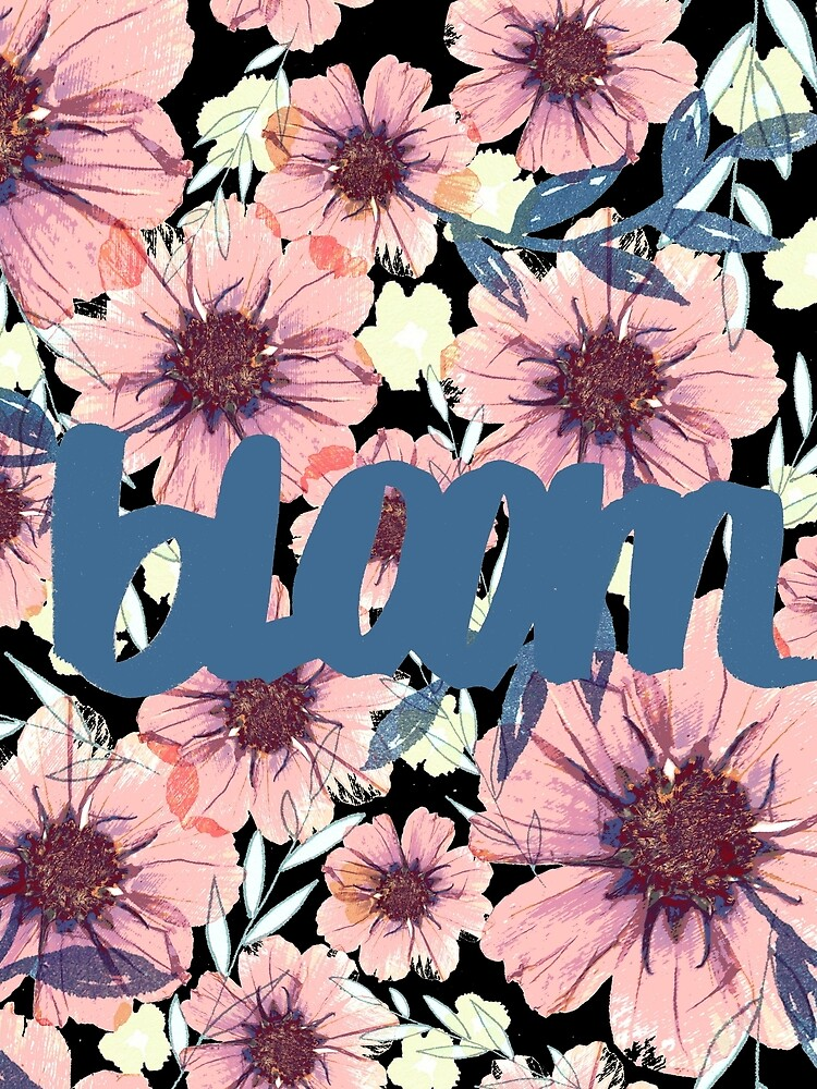 Romantik Blümiger Muster grau, rosa, blau von RanitasArt