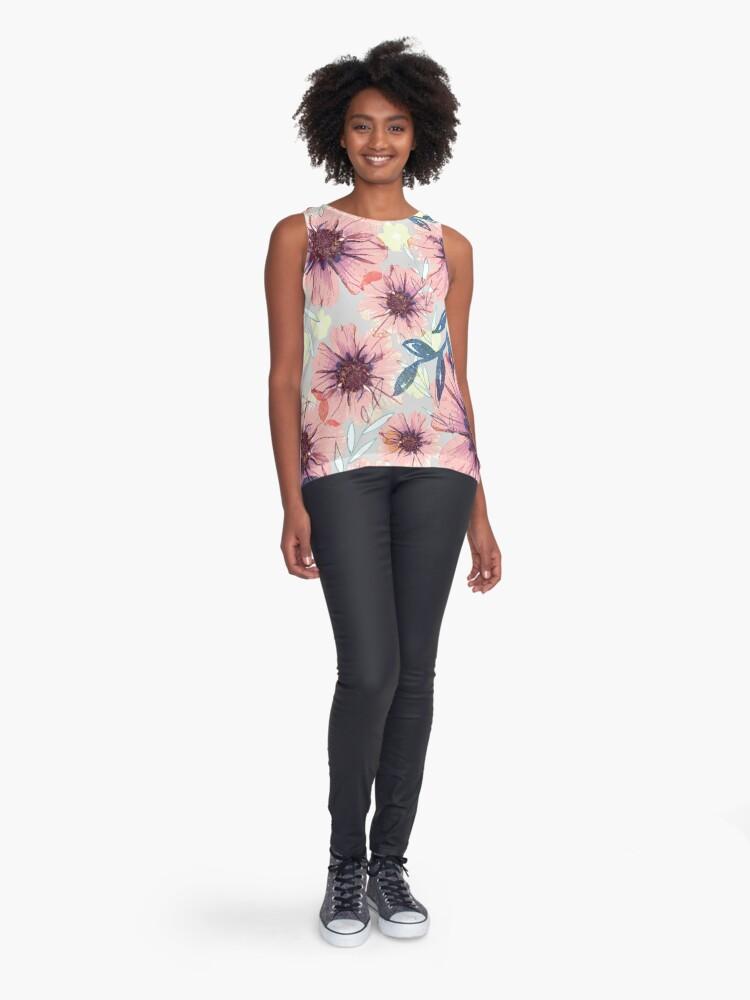 Alternative Ansicht von Romantik Blümiger Muster grau, rosa, blau Ärmelloses Top
