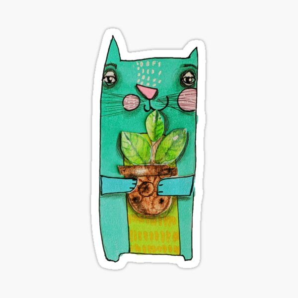 Aqua Cat Sticker