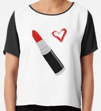 Red Lipstick Chiffon Top