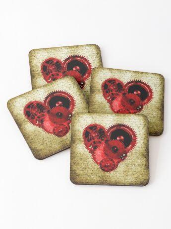 Vintage Steampunk Heart Coasters