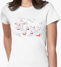 Flying cranes, Japanese kimono motif 3 Womens Fitted T-Shirt