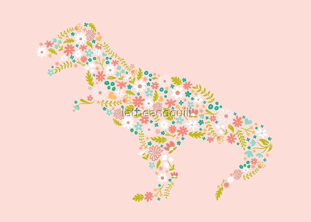 Floral T-Rex on Pink by latheandquill