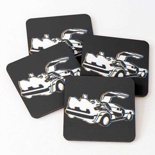 black and white delorean Coasters (Set of 4)