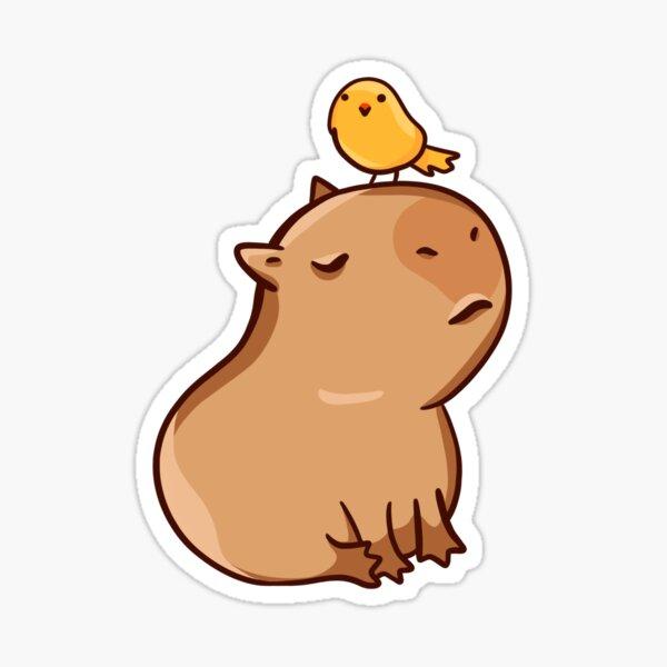 Capybara with his bird friend  Sticker