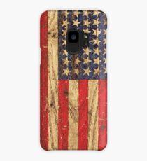Vintage Patriotic American Flag on Old Wood Grain Case/Skin for Samsung Galaxy