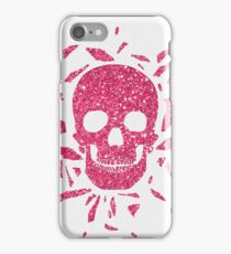 Girly Pink Glitter Abstract Skull Cool Photo Print iPhone Case/Skin