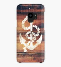 Vintage Nautical Anchor White on Brown Wood Grain Case/Skin for Samsung Galaxy