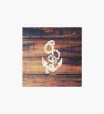 Vintage Nautical Anchor White on Brown Wood Grain Art Board