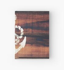 Vintage Nautical Anchor White on Brown Wood Grain Hardcover Journal
