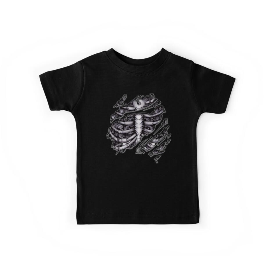 Steampunk Terminator Cyborg Robot Body Torn Tee Tshirt Kids Tees By