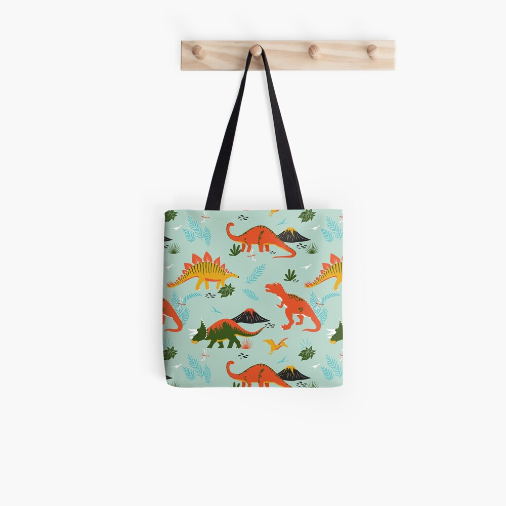 Jurassic Dinosaur in Blue + Red Tote Bag