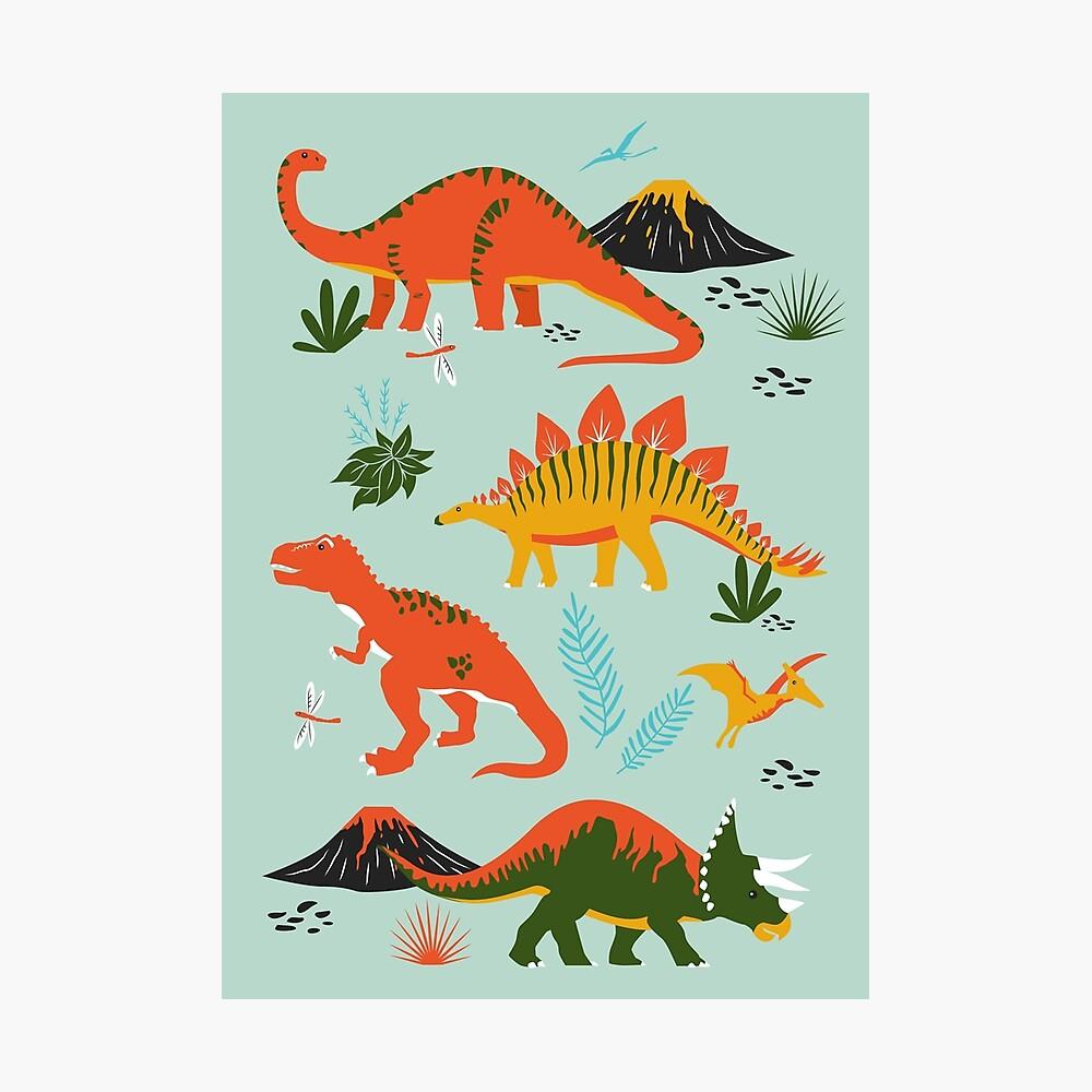 Jurassic Dinosaur in Blue + Red Photographic Print