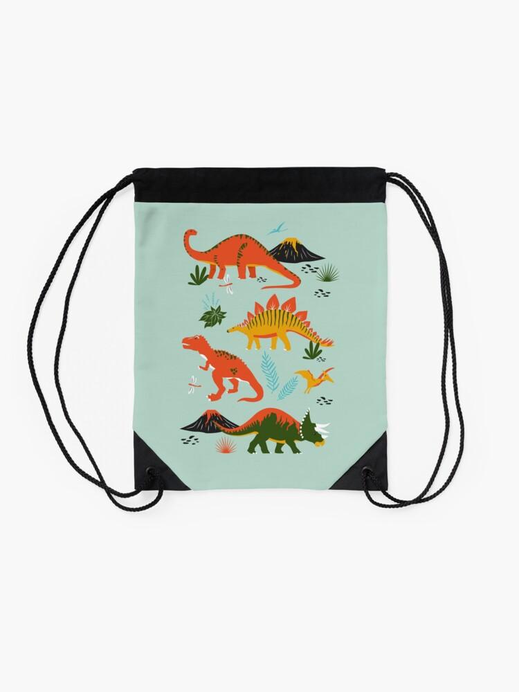 Alternate view of Jurassic Dinosaur in Blue + Red Drawstring Bag