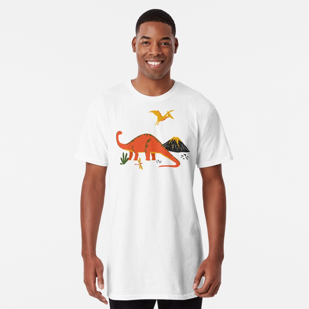 Jurassic Dinosaur in Blue + Red Long T-Shirt