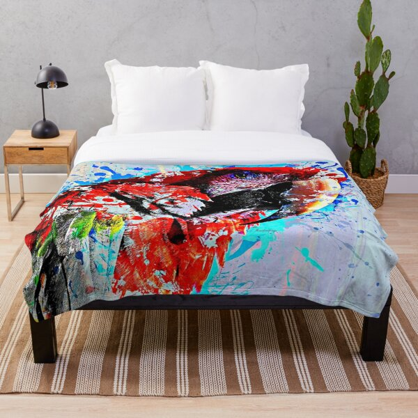 Parrot watercolor Throw Blanket