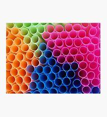 Coloured Straws Photographic Print