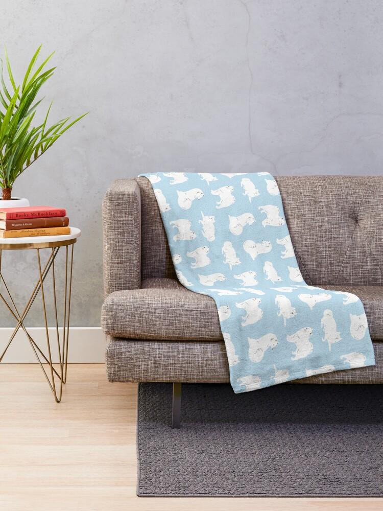 Alternate view of Samoyed Print Throw Blanket