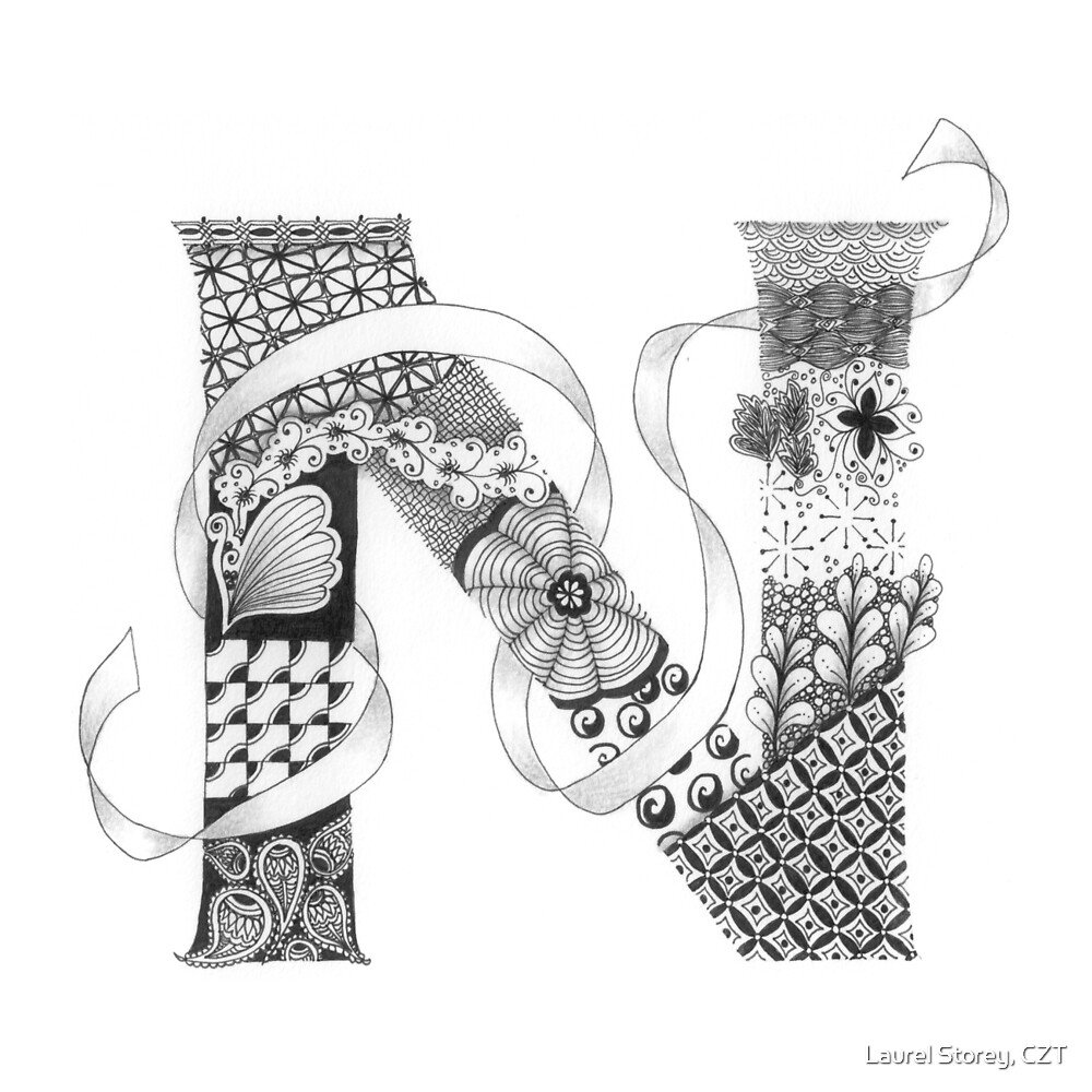"zentangle coloring pages letter n | ""Zentangle®-Inspired Art - Tangled Alphabet - N"" by Laurel ..."