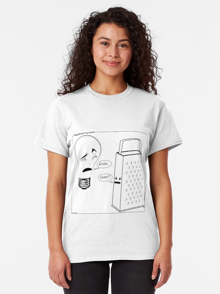 Alternate view of Cartoon: Lightbulb and Cheese Grater Classic T-Shirt