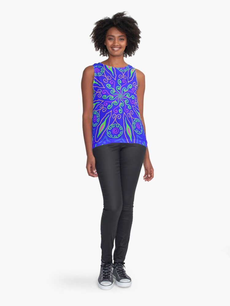 Alternate view of Southwestern Blue Sleeveless Top