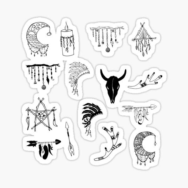 Boho Black and White Sticker Pack Sticker