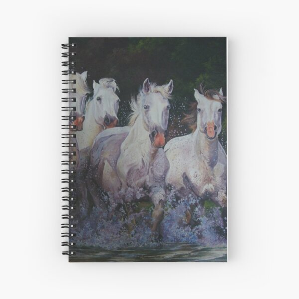Six white horses Spiral Notebook