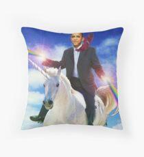 Obama unicorn win Throw Pillow